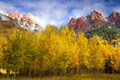 Misty Autumn Morning (Vision & Light Photo) Tags: autumn fall season aspen yellow golden tree nature outdoors landscape remote wilderness horizontal green blue red mountain rockies rockymountains colorado maroonbells clouds cloudscape mist misty fog snow scenic scenery morning photo photograph photography fineart beautyserene forest woods peaceful fineartphotography