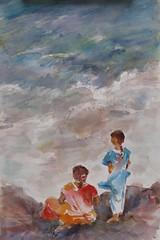 Inde, Pondicherry (geneterre69) Tags: inde pondicherry aquarelle watercolor mer océan