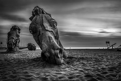 The Dread Horses (Mat Viv) Tags: canon canoneost5i canoneost6s 760d t6s sigmalens sigma1750mmf28 17mm wideangle longexposure ndfilter blackandwhite monochrome monochromatic bnw sand sea water beach seaside travel italy tuscany versilia horse head statue art fineart sky clouds overcast smooth depthoffield pointofview strange dread wow