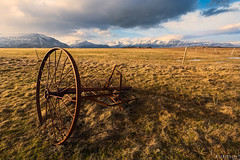 Agricultural (Ron Jansen - EyeSeeLight Photography) Tags: iceland south east southeast coast agriculture steel metal rust yellow brown red nature wide view landscape mood clouds grass fence pole poles