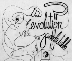 is evolution predictable? (Daniel Ari Friedman) Tags: pen drawing art creative ink paper design graphic cursive font letters words letter word question paradox riddle draw writing lettering yin yang yinyang black white balance is evolutionary evolution predictable stats statistics math biology science brain bio ecology