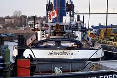 avenger IV (twurdemann) Tags: avengeriv boat canadianflag detailextractor evening flag fujixt1 governmentdock nikcolorefex ontario procontrast purvismarine saultstemarie spring stmarysriver sunset tug tugboat water wind workboat