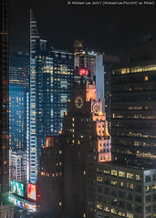 Paramount Building (20170422-DSC00313-Edit) (Michael.Lee.Pics.NYC) Tags: newyork aerial hotelview hiltontimessquare paramountbuilding comcastbuilding clockface globe architecture cityscape night sony a7rm2 fe2470mmf28gm