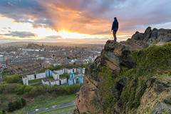 A Viewpoint (Kyoshi Masamune) Tags: edinburgh sunset uk kyoshimasamune ultrawideangle wideangle panorama citypanorama salisburycrags holyroodpark holyrood clouds cloudscape edinburghcastle oldtown newtown hdr highdynamicrange firthofforth forth