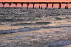 Pensacola Sunset (DJ Wolfman) Tags: pensacolafl pensacola sunset pier red orange atlanticocean ocean water beach pensacolabeach olympus olympusomd em1markii 12100mmf4zuiko zd micro43