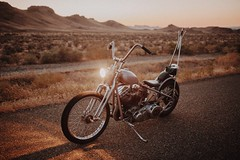 Panhead Chopper (Dylan M Howell) Tags: motorcycle idaho desert outdoors chopper harley biker couple love engagement happy