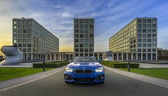 My car in front of Barmenia Headquarter in Wuppertal (stefanfricke) Tags: hdr bmw barmenia headquarter wuppertal sunset architecture