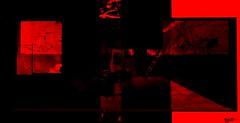 Red room (Off till18th/Bamboo Barnes - Artist.Com) Tags: secondlife monochrome red black vivid ladder desk light shadow bamboobarnes digitalart windows wall surreal doors