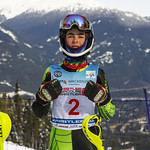April 16th, 2017 - Heming Sola of Canada takes first place in the U14 McKenzie Investments Whistler Cup Mens Slalom - Photo By Jon Hair - coastphoto.com