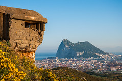 Lookout (Oliver J Davis Photography (ollygringo)) Tags: gibraltar gib rockofgibraltar brexit landscape bunker history 20th century ruins defence view lalinea cadiz europe yellow flowers nature mediterranean sea sunny spain spanishbroom shrub military spanish observation post lookout lalíneadelaconcepción border town sierra carbonera worldwarii nikon d90 rock concrete franco faceoff andalucia andalusia heritage aged time bricks travel colourful colorful colour day photography outdoors green hill city sprawl urban eu uk europeanunion neighbours unitedkingdom world war standoff