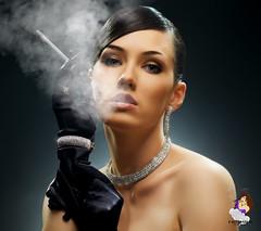 21908244 (harleystone75) Tags: smoke smoking cigarette beauty beautiful glamour classy classic brunette makeup hair eyes lips gloves jewelry necklace bracelet earrings studio pose