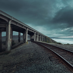 Tracks (David Colombo Photography) Tags: train tracks railroad bridge clouds moody blue green rail sunset ocean pacific sandiego california nikon d800 davidcolombo davidcolombophotography