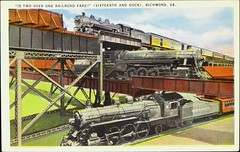Only place on earth where three trains cross over each other. Richmond, Virginia. Postcard #104210, Richmond News Co., (1930) (lhboudreau) Tags: postcard postcards colorphoto outdoor outdoors vintagepostcard rail railroad train trains railroadtracks richmondvirginia richmondnewsco 1930 no104210 104210 postcard104210 postcardno104210 railroadengine railroadengines locomotive locomotives richmond virginia threetrains crossing railroadcrossing separatetracks corailway salrailway southernrailway bridge bridges railroadbridges railroadbridge sixteenthdock sixteenthanddock