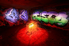 Hell in a handcart (quornflake) Tags: sparks steelwool lightpainting longexposure graffiti morrisons