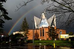 Kościół Św. Królowej Jadwigi (NoisySquirrel) Tags: lublin poland landscape samyang 35mm church rainbow rain nikon color