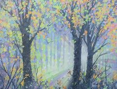 Autumn Light (Art by MarkAC) Tags: art artwork acrylic painting box canvas autumn autumnal colour leaves trees silhouettes sun sunburst sunlight