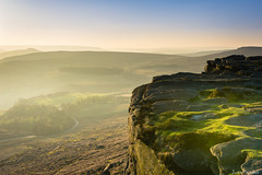 Mist at Stanage Edge (justin saunders) Tags: mist rocks light sun sunset waiting powerful grass green view landscape distance mountains cloud