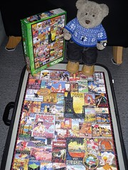 I bin evryware man! (pefkosmad) Tags: jigsaw puzzle travel posters 1000pieces complete used ted tedric studmuffin teddy bear cute soft stuffed animal toy plush fluffy hobby leisure pastime