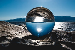 Contrast (joshhansenmillenium) Tags: nikon d5500 photography tamron 18200mm crystal ball utah lake state park ensign peak salt city hiking nature water waves sunsets mountains sunset layers provo adventure capitol building island reflections refractions