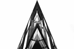 Acute Angle (lawm1) Tags: acute angles geometric geometry shapes triangular triangle pyramid glass modern sharp building architecture urban christchurch newzealand blackandwhite monochrome canon photography marklaw lawm1