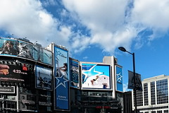 Color matching with sky (VV Nincic) Tags: toronto ontario dundassquare blue ads cans2s