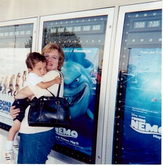 Finding Nemo in Theater (booboo_babies) Tags: findingnemo baby toddler motherandson movie film shark advertisement throwbackthursday 2003 mama pixar disney tbt theater