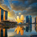 Sunrise and bridge in Singapore City with panorama view