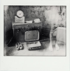 Ghost Mansion (///Brian Henry) Tags: polaroid abandoned mansion week roidweek decay spectra impossible project ghost monochrome doubleexposure