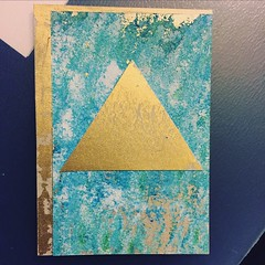 Abstract ATC #swapbot #atc #artisttradingcard #gold #spraypaint #acrylic (cassy.marie) Tags: artisttradingcard gold spraypaint swapbot atc acrylic