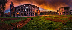 Coliseum at dawn, Roma (dleiva) Tags: italian culture nature panoramic italy architecture dusk photography tree sky grass lazio horizontal amphitheater roman outdoors color image no people history built structure travel destinations arch capital cities tranquility coliseum international landmark ancient rome the past cloud dleiva domingo leiva