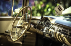 P4120033ab-Edit (john.cote58) Tags: chevy chevrolet carshow automotive antique old restored hotrod race classic street urban creative design parked interior belair steeringwheel dash dice radio speedometer chrome trim