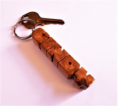 Wood Name Keychain - Amboyna Burl on Maple (DustyNewt Scott) Tags: wood wooden woodworking personal personalized name keychain handmade custom madetoorder fob keyfob letters dustynewt amboyna burl maple cindy