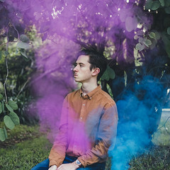 101/365 (Chris Gray Photo) Tags: smoke colour people portrait outdoors portraiture tree nature selfportrait self conceptual fineart canon 50mm 365project smokebomb