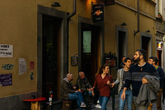 DSC_339 (Mjooolka) Tags: turin travel locals people restaurant bar pub piedmont italia italy piemonte torino lamps couple love amour relations girl boy man table café streets square blackboard chulk mode fashion evening afternoon building architecture