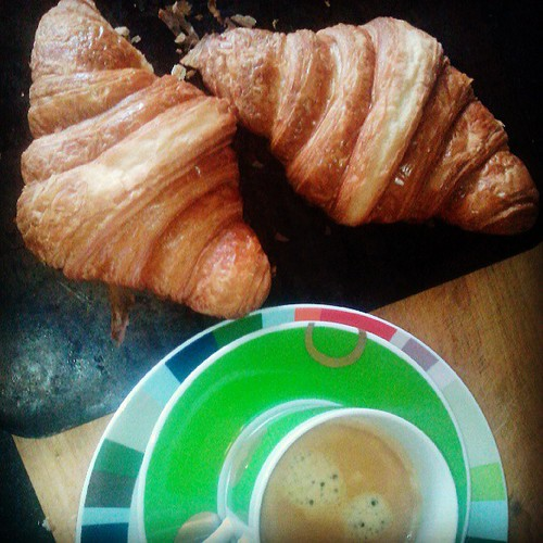 Big buttery croissants from Paris with a deep dark fresh coffee mmmmm a perfect Sunday breakfast xx