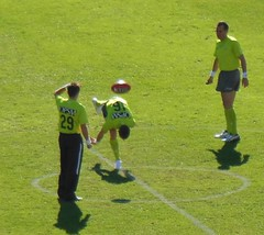 Ball Bouncing Practice (mikecogh) Tags: ball football group practice olympicpark afl bouncing umpires skodastadium