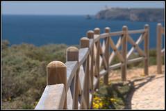 Overlooking the Atlantic [Explored.... just about!] (Dublin Rose) Tags: blue portugal fence timber balcony horizon rail bluesky atlantic friday posts railings sagres blinkagain