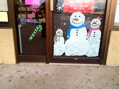 Three Snowmen Smiling on the Door (Lynn Friedman) Tags: christmas door xmas usa holiday window smile wisconsin decoration snowmen candycane wi stripmall mequon lynnfriedman browndeerroad