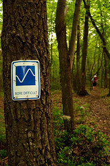 Difficult Path (LaurelImages) Tags: trees brown mountains green sign forest outdoors hiking pennsylvania path trail atv
