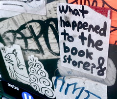 Book store go bye-bye? (-Curly-) Tags: streetart art graffiti sticker stickerart curly