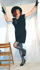 6-18-5 (prettysissydani) Tags: black hat tshirt tights skirt crossdressing redhead gloves mysexylegs