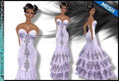 Mesh Tiered Lace Mermaid Gown in Ice (Sweet Distractions) Tags: life mesh sweet lace sl bridesmaid second gown mermaid rigged distractions