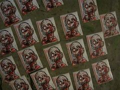 making of the clone army (andres musta) Tags: two colour print sticker stickerart zombie prints block linoleum andres zas musta 2colour