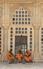 Keepers of the Sheesh Mahal (3eyedmonsta) Tags: orange jaipur sheeshmahal