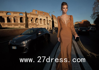 2013 Vintage Prom Dresses Sexy V Neck Long Sleeve Bead Chiffon Elegant Formal Dresses Evening from 27dress.com