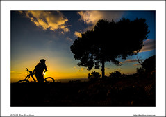 Cycling thoughts at sunset (Ilan Shacham) Tags: sunset shadow sky man tree bicycle silhouette clouds landscape cycling israel view thoughtful mtb romantic universe mountainbiking rider patience vast mountainbiker significance canadapark humling