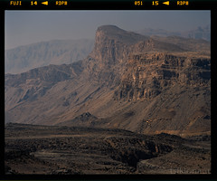 Al Hajar mountains, Oman (tsiklonaut) Tags: world travel brown mountain mountains film rock stone analog landscape al desert pentax drum rocky slide dia scan arabic erosion arab experience fujifilm analogue arabian 6x7 peninsula oman volcanic provia e6 67 analogica discover  jebel eroded 100f 11000 hajar drumscan  sultanate  pmt rdpiii      sanner    hajjar    photomultipliertube  poolsaar  scanview scanmate araabia