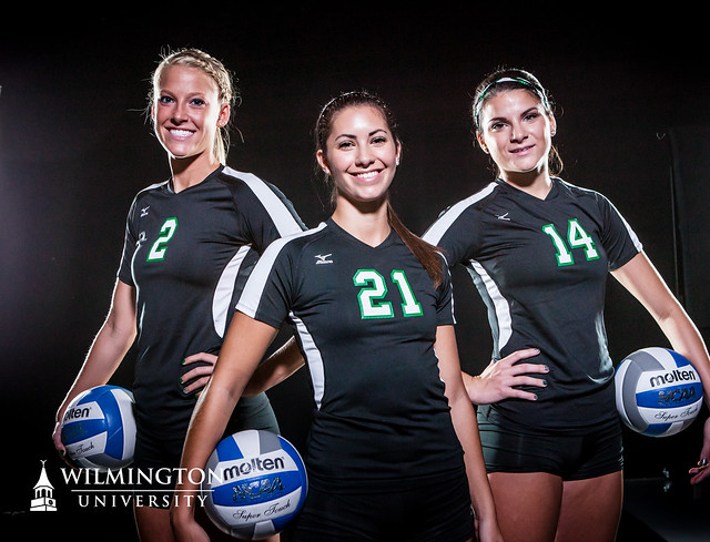Wilmington Volleyball 2013 senior class. Copyright 2013; Wilmington University. All rights reserved. Photo by Paul Patton.