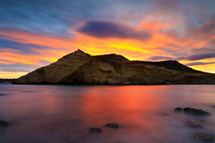 Sunset at cocedores (raul_lg) Tags: longexposure sunset sea sky mountain 3 seascape clouds canon landscape atardecer mar rocks mediterraneo paisaje murcia stop cielo lee nubes nd montaa rocas aguilas mark3 largaexposicion raullopez canon1635 cocedores canon5dmarkiii raullg