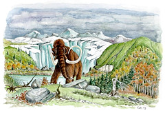 Mammoth and Ice Age Landscape (Watercolor) (jeanchristophegueguen) Tags: illustration iceage forest pencil painting landscape paint drawing dessin peinture glacier mammoth draw crayon paysage mammals fort biodiversity naturalist guc mammouth naturaliste mammuthus elephantidae mammifres 2013 glacialage ereglaciaire jeanchristophegueguen elephantids